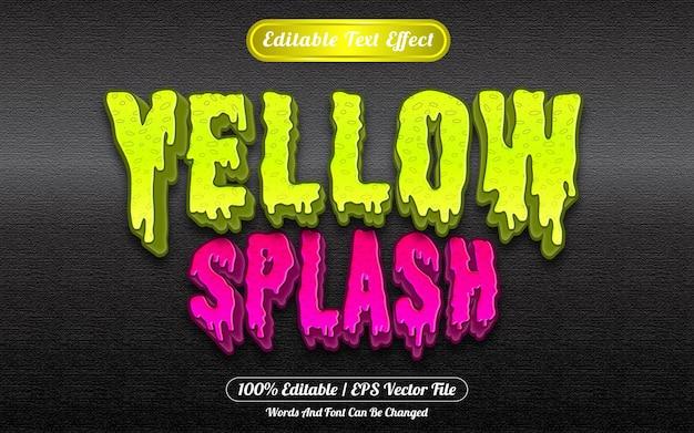 Style de modèle d'effet de texte modifiable splash jaune