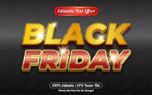 Style de modèle d'effet de texte modifiable vendredi noir avec fond noir