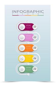 Style de modèle d'infographie de processus de dégradé