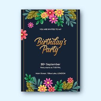 Style de modèle d'invitation d'anniversaire floral