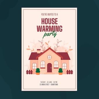 Style de modèle d'invitation de fête de réchauffement de la maison