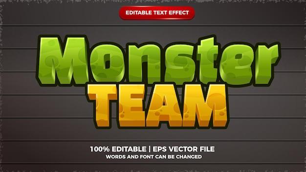 Style de modèle de jeu de dessin animé d'effet de texte modifiable d'équipe de monstre