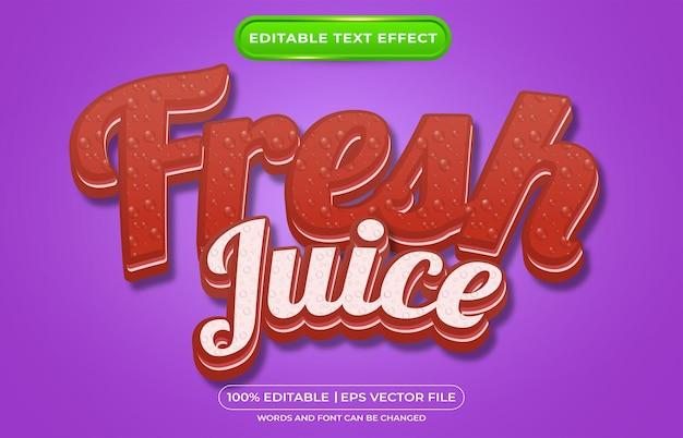 Style de modèle de jus de fruits frais à effet de texte modifiable