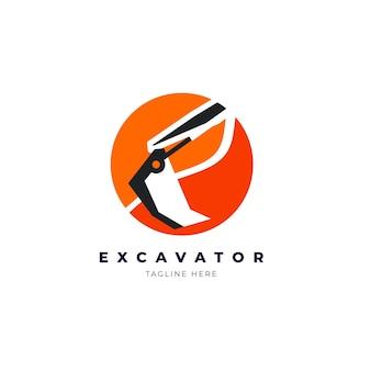 Style de modèle de logo d'excavatrice