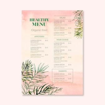 Style de modèle de menu de restaurant