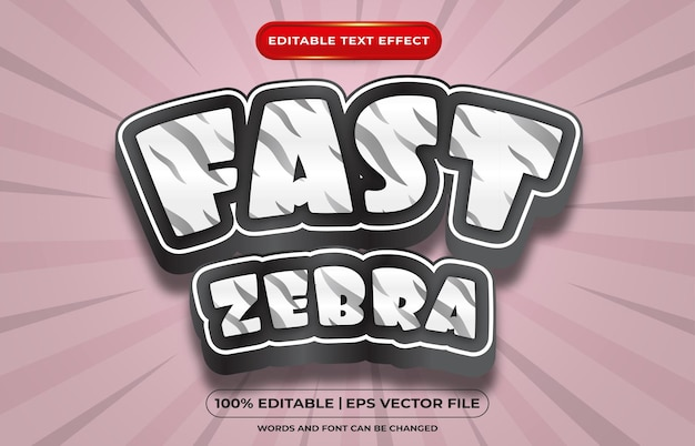 Style de modèle de zèbre rapide à effet de texte modifiable
