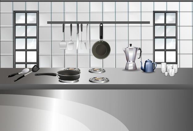 Style moderne de la cuisine et des ustensiles