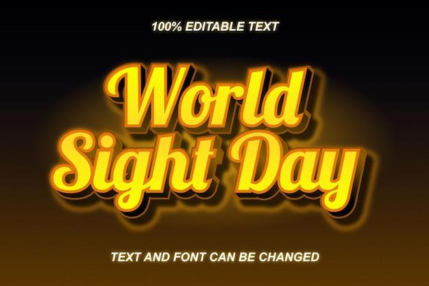 Style moderne d'effet de texte modifiable de la journée mondiale de la vue