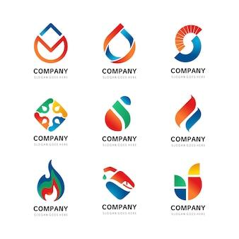 Style moderne feu flamme eau logo template vecteur icône concept de logo de gaz et d'énergie de pétrole