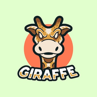 Style moderne d'illustration de logo de mascottes de girafe
