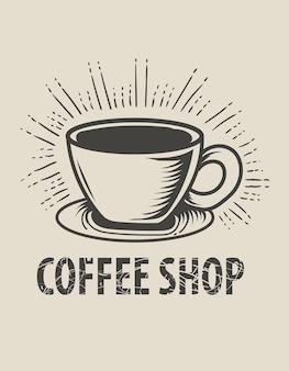 Style monochrome de logo de café vintage