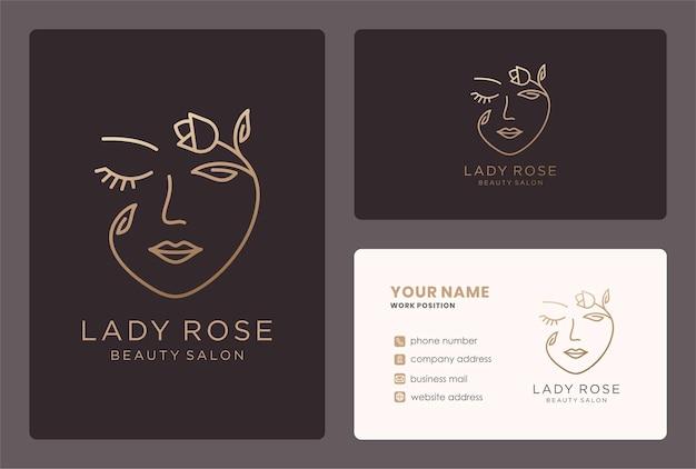 Style de monogramme de logo de dame rose avec la conception de carte de visite.