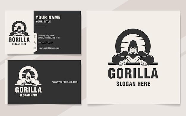 Style de monogramme de modèle de logo de gorille