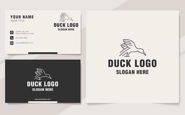 Style de monogramme de modèle de logo de ligne de canard