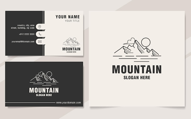 Style de monogramme de modèle de logo de ligne de montagne