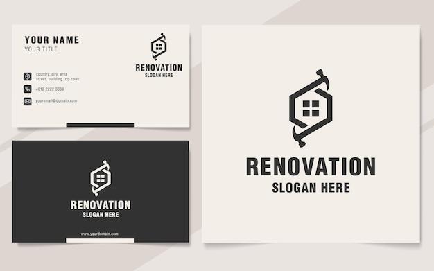 Style de monogramme de modèle de logo de maison de rénovation