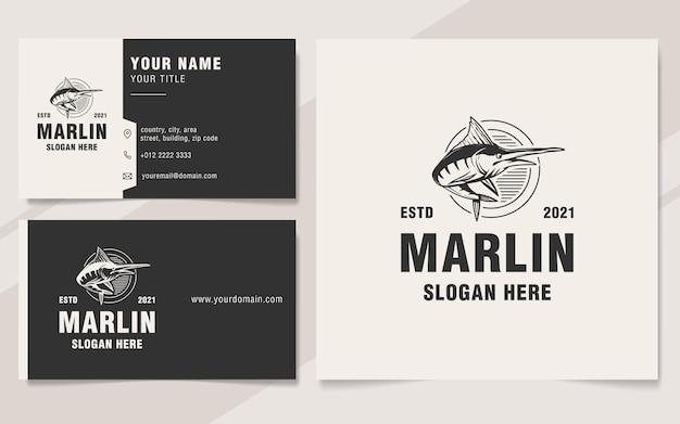 Style de monogramme de modèle de logo marlin