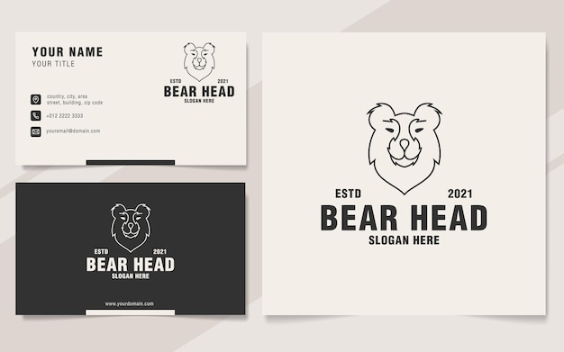Style de monogramme de modèle de logo de tête d'ours minimaliste