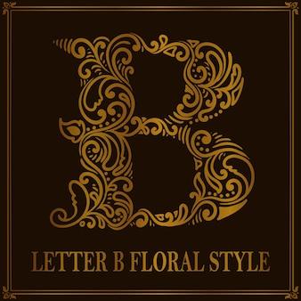 Style de motif floral vintage lettre b