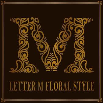 Style de motif floral vintage lettre m