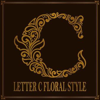 Style de motif floral vintage lettre c