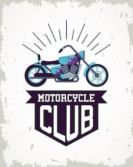 Style de moto chopper avec illustration du club ruban et cadre