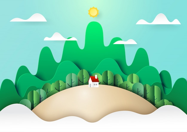 Style de nature verdoyante paysage concept papier art