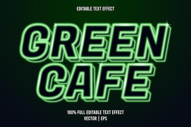 Style néon effet texte modifiable café vert