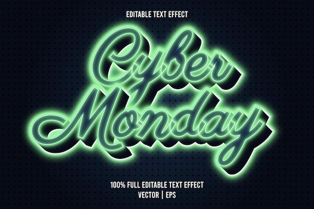 Style néon à effet de texte modifiable cyber monday
