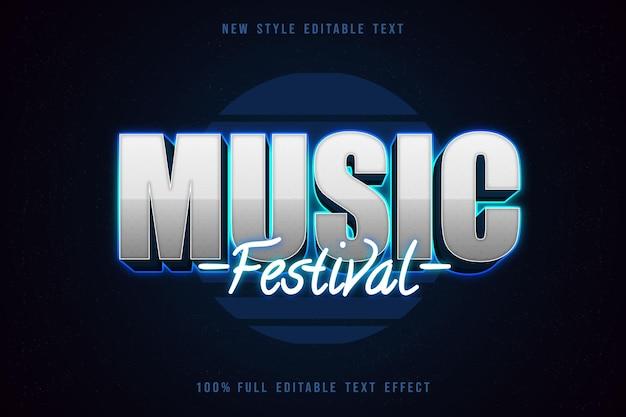 Style néon d'effet de texte modifiable de musique de musique
