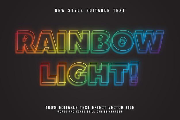Style néon effet de texte modifiable par lumière arc-en-ciel