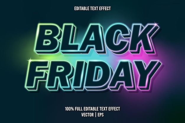 Style néon effet de texte modifiable vendredi noir