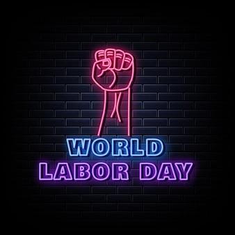 Style néon enseigne au néon de la fête mondiale du travail