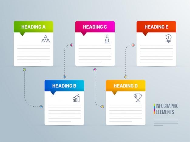 Style de note collante 5 niveaux infographique