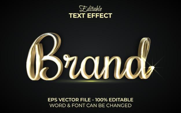 Style d'or d'effet de texte de marque. effet de texte modifiable.