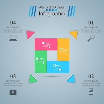 Style d'origami d'affaires infographie illustration vectorielle.