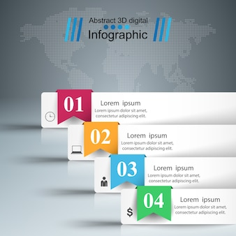 Style d'origami d'affaires infographique. quatre articles