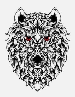Style d'ornement tête de loup isolé sur blanc