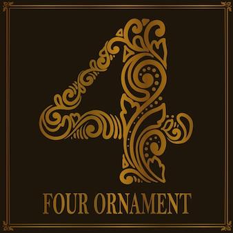 Style d'ornement vintage à quatre chiffres
