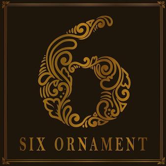 Style d'ornement vintage à six chiffres