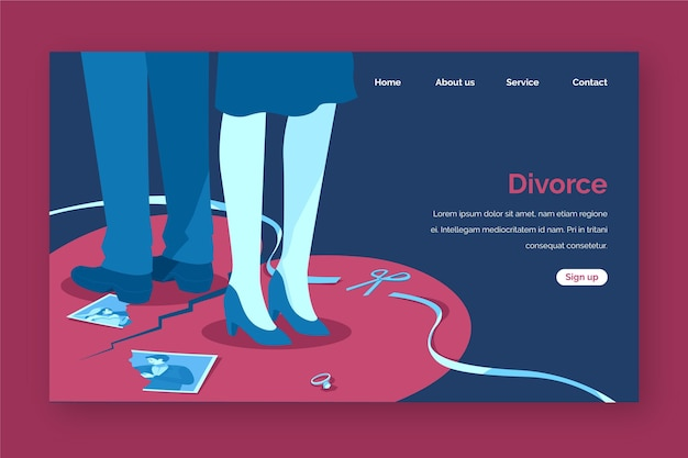 Style de page de destination du concept de divorce