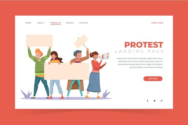 Style de page de destination de la grève de protestation