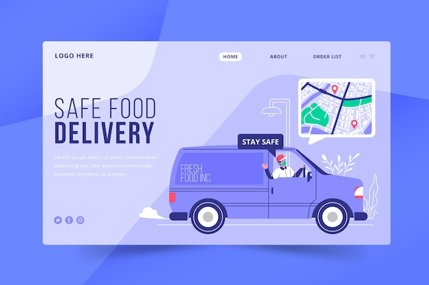 Style de page de destination de livraison de nourriture sûre