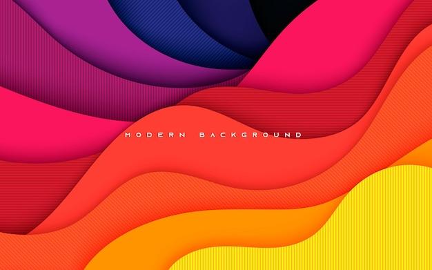 Style de papercut abstrait coloré fond ondulé