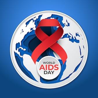 Style papercut de la journée mondiale du sida