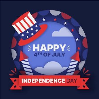 Style de papier 4 juillet - illustration de la fête de l'indépendance