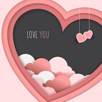Style de papier d'amour en rose