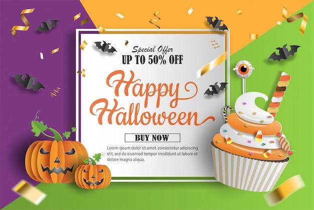 Style de papier d'art et d'artisanat, petit gâteau et citrouilles avec des décorations de bonbons.
