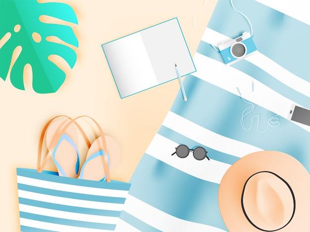 Style de papier d'art de choses de plage avec la couleur pastel