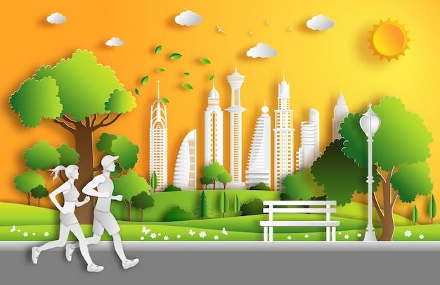 Style de papier d'art du paysage dans la ville